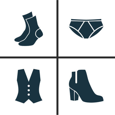 Clothes Icons Set. Collection Of Briefs, Waistcoat, Half-Hose And Other Elements. Also Includes Symbols Such As Pants, Underpants, Shoes.