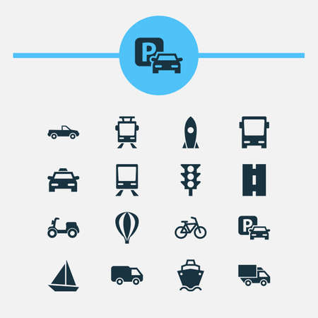 Shipment Icons Set. Collection Of Spaceship, Tanker, Railway And Other Elements. Also Includes Symbols Such As Way, Road, Car.