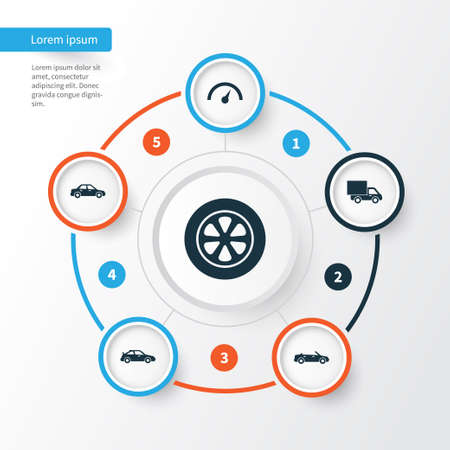 Car Icons Set. Collection Of Crossover, Wheel, Automobile And Other Elements. Also Includes Symbols Such As Speed, Automobile, Lorry.