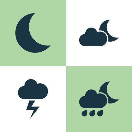 Meteorology Icons Set. Collection Of Lightning, Moonlight, Moon And Other Elements. Also Includes Symbols Such As Lightning, Flash, Cold.