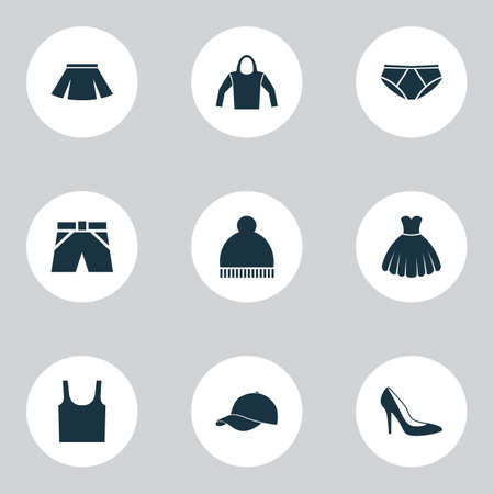 Clothes Icons Set. Collection Of Singlet, Trilby, Sarafan And Other Elements. Also Includes Symbols Such As Footwear, Cap, Woman.