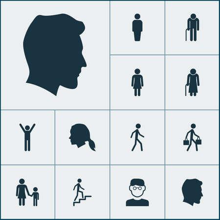 Mensen Icons Set. Verzameling van opa, bezorger, ladderelementen. Bevat ook symbolen zoals gebruiker, wandelen, hoofd.