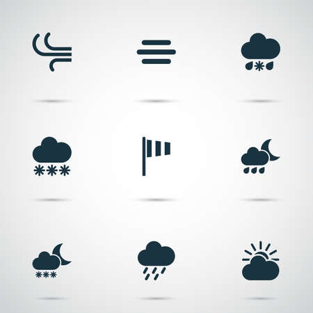 weathercock: Weather Icons Set. Collection Of Douche, Night, Haze And Other Elements. Also Includes Symbols Such As Nightly, Shower, Sun.