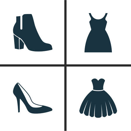 Clothes Icons Set. Collection Of Sarafan, Heel Footwear, Dress And Other Elements. Also Includes Symbols Such As Shoes, Sundress, Boots.