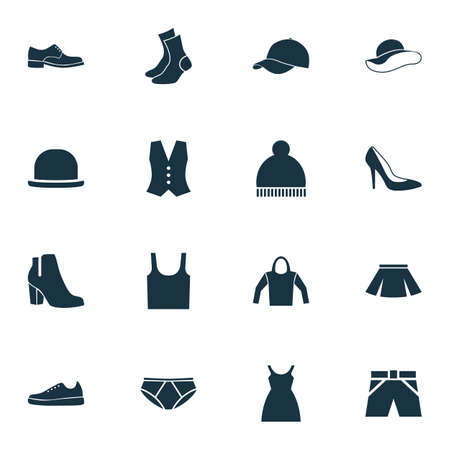 hooded vest: Clothes Icons Set. Collection Of Waistcoat, Trilby, Singlet And Other Elements. Also Includes Symbols Such As Tank, Briefs, Panama.
