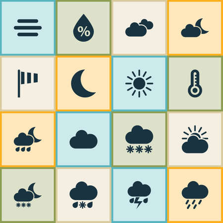 weathercock: Meteorology Icons Set. Collection Of Night, Nightly, Sun-Cloud And Other Elements. Also Includes Symbols Such As Temperature, Sunny, Snowy.