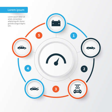 Automobile Icons Set. Collection Of Automobile, Accumulator, Fixing And Other Elements. Also Includes Symbols Such As Speed, Chronometer, Convertible. Illustration