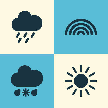 rainbow sky: Nature Icons Set. Collection Of Sun, Douche, Colors And Other Elements. Also Includes Symbols Such As Rain, Sleet, Sun. Illustration