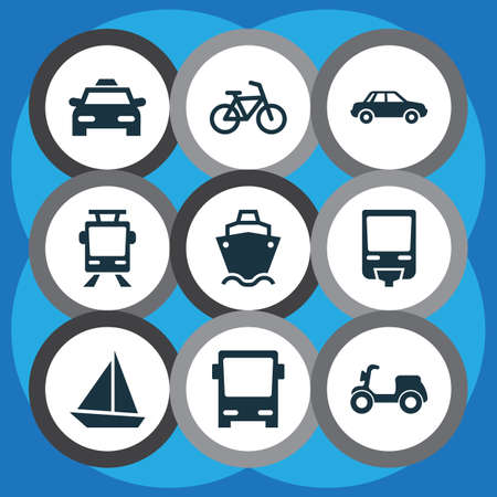 tramcar: Transportation Icons Set. Collection Of Yacht, Bicycle, Cab And Other Elements. Also Includes Symbols Such As Automobile, Sail, Railroad.
