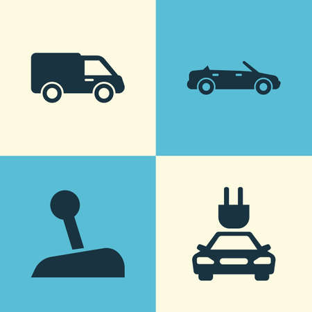 camion: Auto Icons Set. Collection Of Convertible Model, Stick, Truck And Other Elements. Also Includes Symbols Such As Lever, Convertible, Electric.