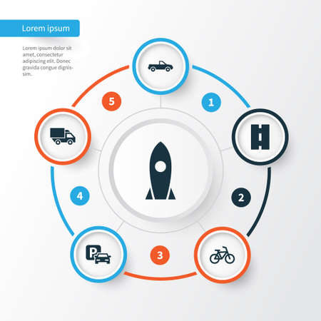 Transportation Icons Set. Collection Of Spaceship, Road Sign, Bicycle And Other Elements. Also Includes Symbols Such As Cabriolet, Van, Sign.