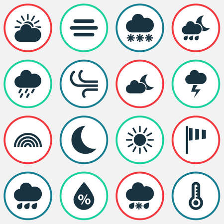 douche: Nature Icons Set. Collection Of Moisture, Moonlight, Haze And Other Elements. Also Includes Symbols Such As Rain, Lightning, Snowy. Illustration
