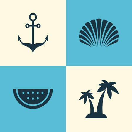 Hot Icons Set. Collection Of Trees, Melon, Armature And Other Elements. Also Includes Symbols Such As Shell, Cocos, Watermelon. Illustration