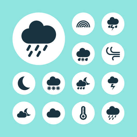 douche: Weather Icons Set. Collection Of Wet, Cloudy, Flash And Other Elements. Also Includes Symbols Such As Cloudy, Flash, Rainbow. Illustration
