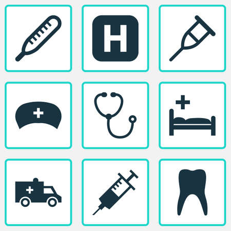 polyclinic: Drug Icons Set. Collection Of Device, Hospital, Mercury And Other Elements. Also Includes Symbols Such As Injection, Cap, Bus. Illustration
