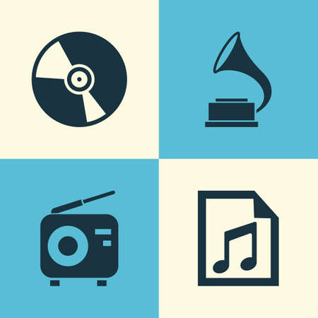 sonata: Audio Icons Set. Collection Of Phonograph, File, Cd And Other Elements. Also Includes Symbols Such As Fm, Radio, Note.