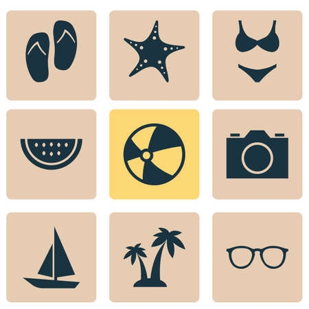 watermelon boat: Sun Icons Set. Collection Of Star, Trees, Ship And Other Elements. Also Includes Symbols Such As Swimming, Sunglasses, Camera. Illustration