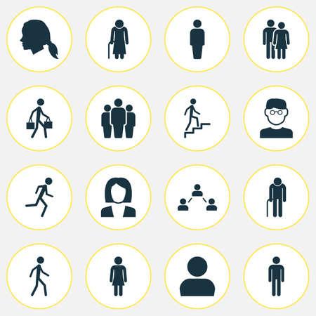 Ensemble d'icônes de personne. Collection de scientifiques, membres, utilisateurs et autres éléments. Comprend également des symboles tels que le jogging, la femme, le travail.