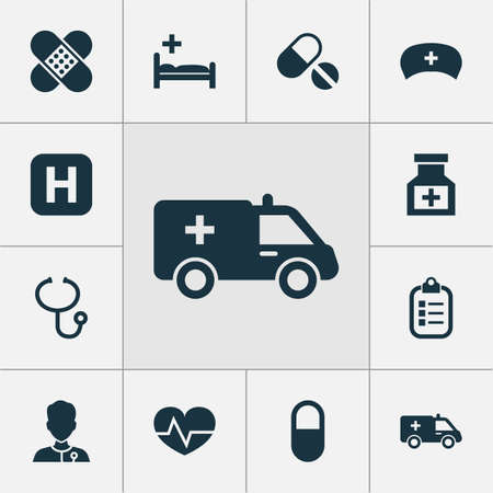 polyclinic: Antibiotic Icons Set. Collection Of Pills, Beating, Bandage Elements. Also Includes Symbols Such As Heartbeat, Hat, Cap. Illustration