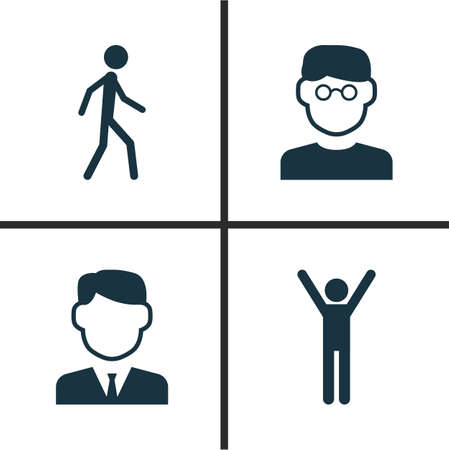 rejoice: Person Icons Set. Collection Of Work Man, Scientist, Happy And Other Elements. Also Includes Symbols Such As Happy, Businessman, Man. Illustration