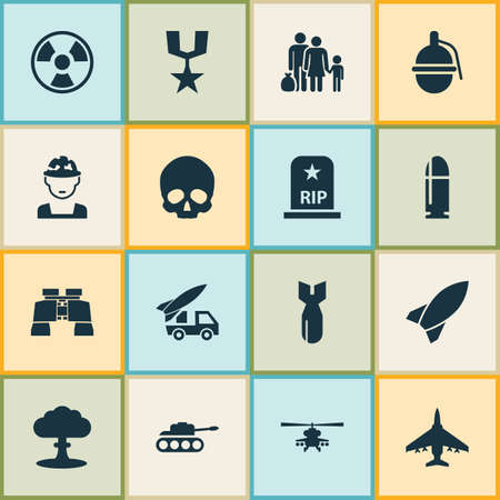 bombshell: Combat Icons Set. Collection Of Aircraft, Bombshell, Military And Other Elements. Also Includes Symbols Such As Bomber, Binoculars, Refugee.