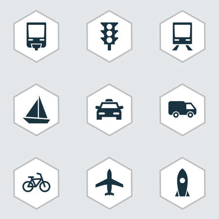 velocipede: Transportation Icons Set. Collection Of Railroad, Cab, Truck And Other Elements. Also Includes Symbols Such As Yacht, Airplane, Velocipede.