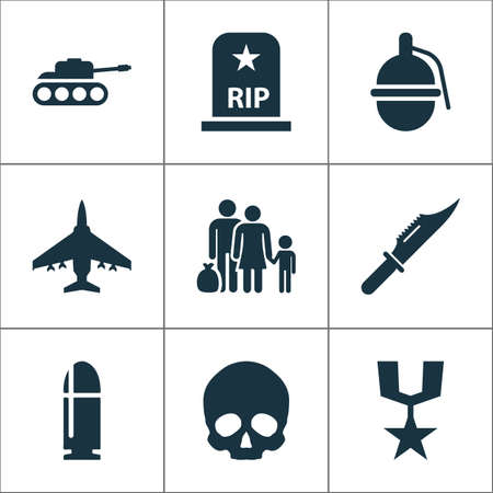 fugitive: Army Icons Set. Collection Of Order, Fugitive, Aircraft And Other Elements. Also Includes Symbols Such As Knife, Grave, Aircraft. Illustration