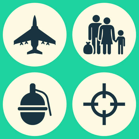 bombshell: Army Icons Set. Collection Of Bombshell, Fugitive, Target And Other Elements. Also Includes Symbols Such As People, Bomber, Shot. Illustration