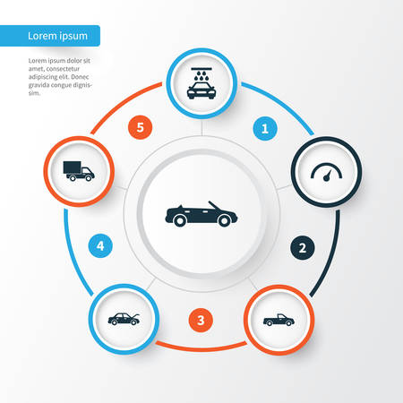 Automobile Icons Set. Collection Of Fixing, Transport Cleaning, Carriage And Other Elements. Also Includes Symbols Such As Auto, Hood, Truck. Illustration