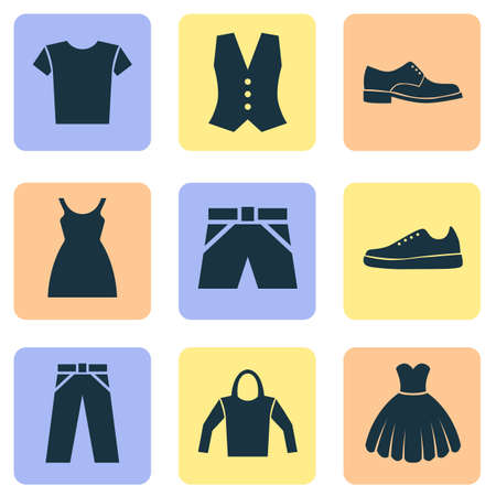 gym dress: Dress Icons Set. Collection Of Elegance, Pants, Sarafan And Other Elements. Also Includes Symbols Such As Clothes, Vest, Male.