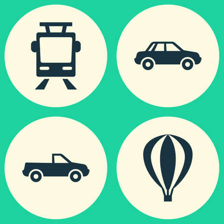 conveyor rail: Transport Icons Set. Collection Of Airship, Streetcar, Automobile And Other Elements. Also Includes Symbols Such As Balloon, Tram, Pickup. Illustration