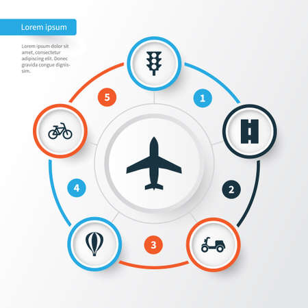 Transportation Icons Set. Collection Of Aircraft, Stoplight, Skooter And Other Elements. Also Includes Symbols Such As Motorbike, Bicycle, Way. Illustration