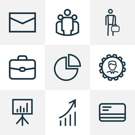 Trade Outline Icons Set. Collection Of Briefcase, Circle Graph, Businessman And Other Elements. Also Includes Symbols Such As Payment, Envelope, Manager.