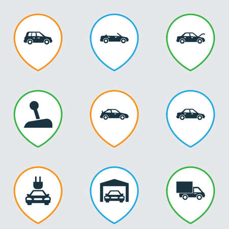 bogie: Car Icons Set. Collection Of Plug, Repairing, Lorry And Other Elements. Also Includes Symbols Such As Gear, Electric, Automobile.