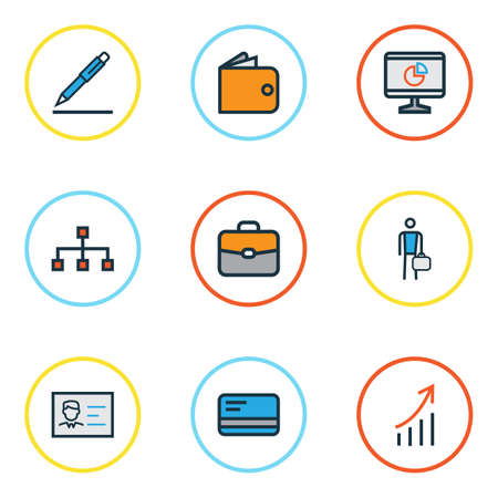 signing: Trade Colorful Outline Icons Set. Collection Of Purse, Portfolio, Network And Other Elements. Also Includes Symbols Such As Hierarchy, Signing, Identification. Illustration