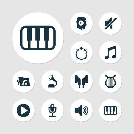 音楽のアイコンを設定します。音楽、リラ、耳あてと他の要素のコレクションです。ヘッドセット、ヘッドフォン、恋人などの記号も含まれていま  イラスト・ベクター素材