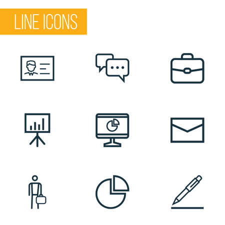 Trade Outline Icons Set. Collection Of Briefcase, Analytics, Whiteboard And Other Elements. Also Includes Symbols Such As Dashboard, Chatting, Work.