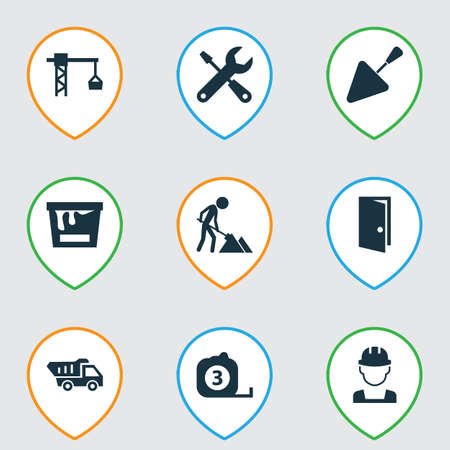 tooling: Construction Icons Set. Collection Of Paint Bucket, Entrance, Maintenance And Other Elements. Also Includes Symbols Such As Truck, Exit, Vehicle.