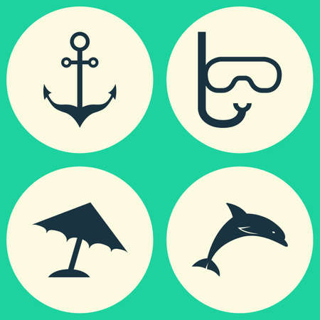 deep sea diver: Hot Icons Set. Collection Of Parasol, Armature, Mammal And Other Elements. Also Includes Symbols Such As Mask, Ship, Armature. Illustration