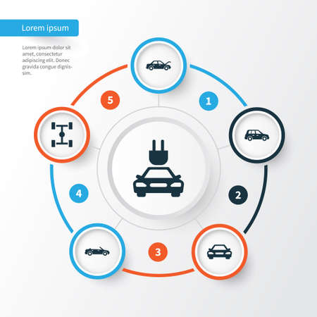 Car Icons Set. Collection Of Plug, Convertible Model, Fixing And Other Elements. Also Includes Symbols Such As Electric, Wheelbase, Convertible. Illustration