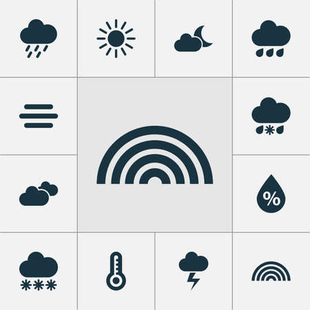 sleet: Climate Icons Set. Collection Of Douche, Temperature, Moonlight And Other Elements. Also Includes Symbols Such As Rainbow, Moisture, Wet.