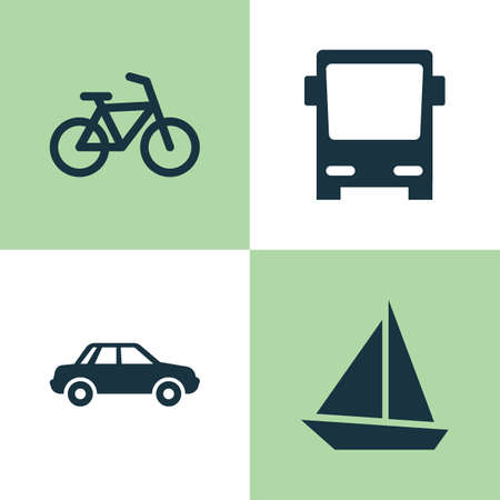 Transport Icons Set. Collection Of Bicycle, Yacht, Omnibus And Other Elements. Also Includes Symbols Such As Autobus, Boat, Yacht.