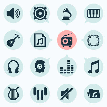 receiver: Multimedia Icons Set. Collection Of Music, Equalizer, Tuner And Other Elements. Also Includes Symbols Such As Earphone, Equalizer, Guitar.