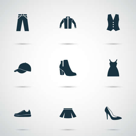 Dress Icons Set. Collection Of Stylish Apparel, Waistcoat, Sneakers And Other Elements. Also Includes Symbols Such As Footwear, Female, Dress. Illustration