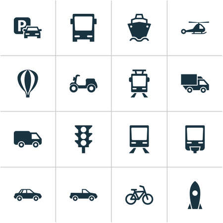 bogie: Shipment Icons Set. Collection Of Skooter, Airship, Spaceship And Other Elements. Also Includes Symbols Such As Bicycle, Railroad, Autobus. Illustration