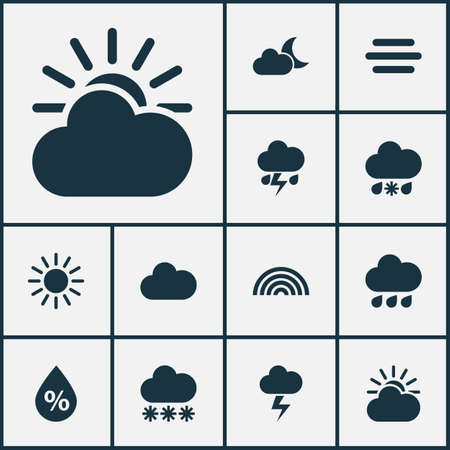 rainbow sky: Weather Icons Set. Collection Of Cloudy, Lightning, Flash And Other Elements. Also Includes Symbols Such As Wet, Cloud, Light. Illustration