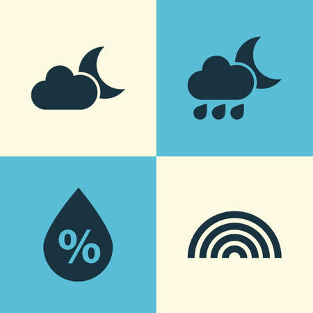 Nature Icons Set. Collection Of Nightly, Moonlight, Moisture And Other Elements. Also Includes Symbols Such As Nightly, Cold, Rainbow. Illustration