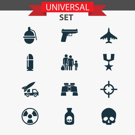 bombshell: Army Icons Set. Collection Of Glass, Bombshell, Fugitive And Other Elements. Also Includes Symbols Such As Poison, Gun, Bullet.