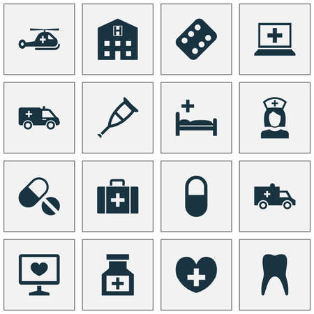 polyclinic: Medicine Icons Set. Collection Of Drug, Pellet, Nanny And Other Elements. Also Includes Symbols Such As Pills, Health, Heart. Illustration