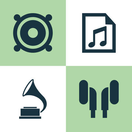 Audio Icons Set. Collection Of File, Megaphone, Phonograph And Other Elements. Also Includes Symbols Such As Antique, Earmuff, Playlist.